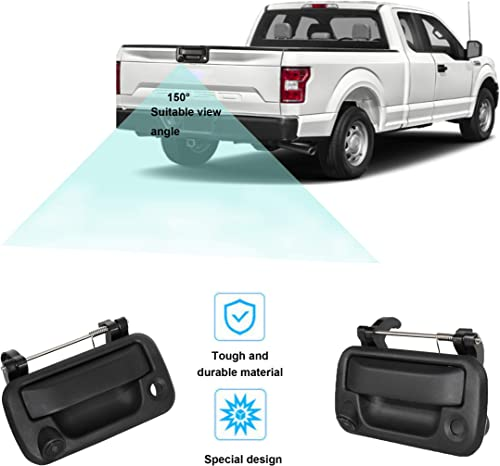 RED WOLF Tailgate Handle with Rear View Backup Camera for 2004-2014 Ford F-150 F150 2008-2016 F-250 F-350 Replacement Reverse Parking Camera Removable Guideline Pickup Trucks Clear View
