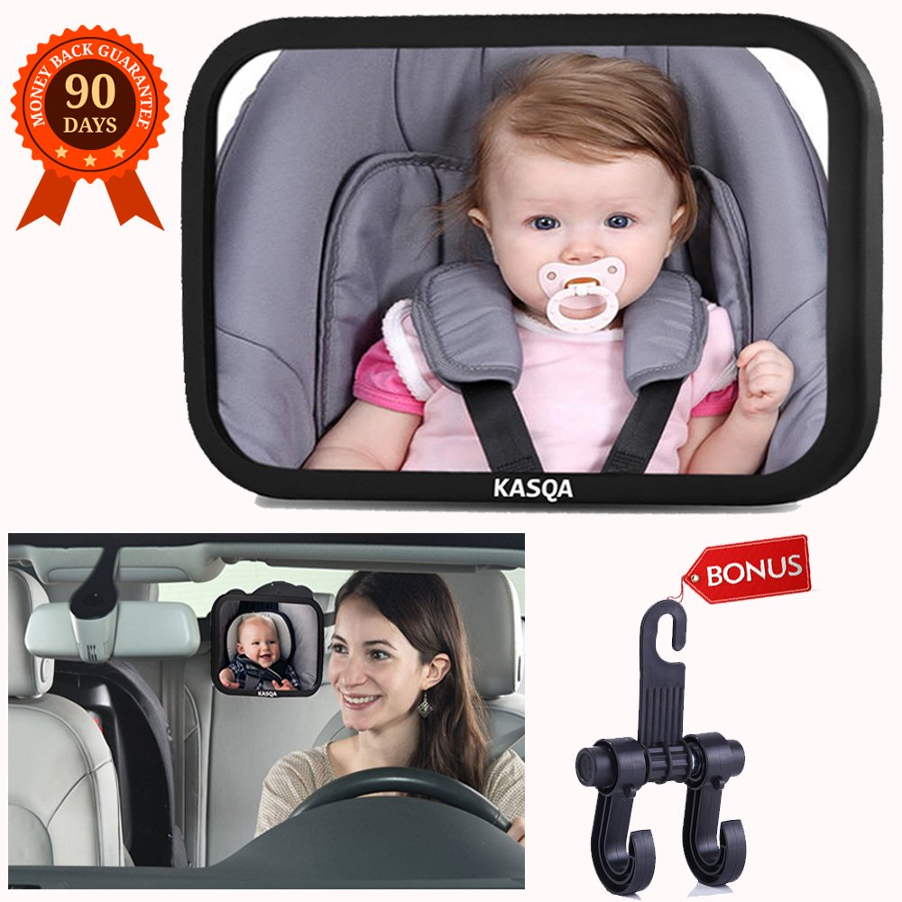 Baby Car Mirror Rear View Facing Infant Car Seat - Baby Mirror for Car Backseat Wide View 360 °Adjustable Shatterproof Glass Safety - Car Seat Mirror Crystal Clear Easy to Install