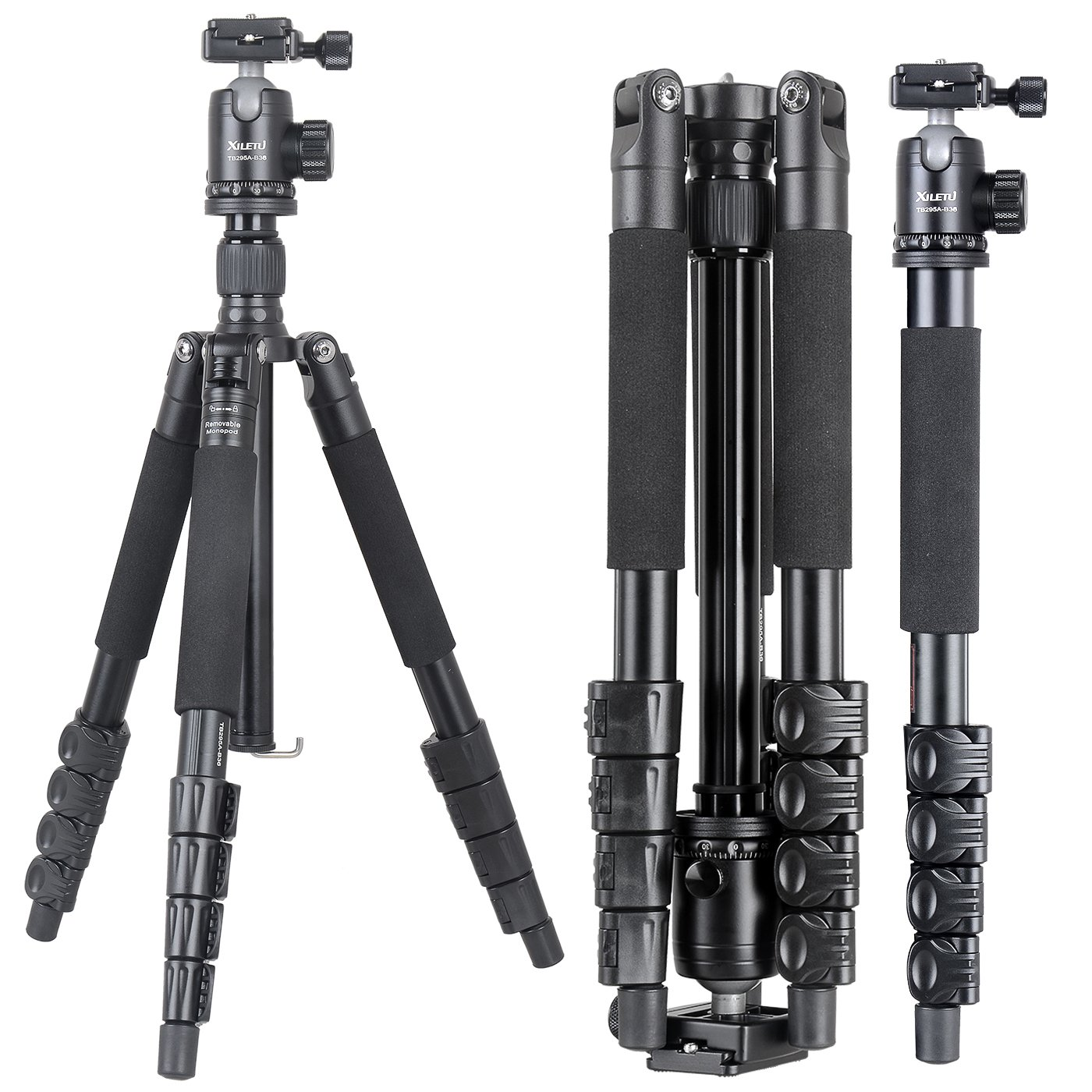 XILETU TB255A+B36 monopod Tripod Light Weight Aluminum Travel Tripod Come with Quick Release Plate Ball Head and Carry Case for Canon Sony Nikon DSLR(Black) by XILETU