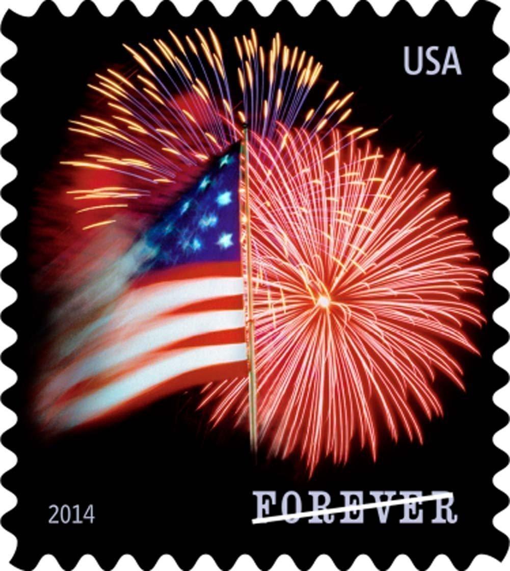 USPS Forever Stamps, Star-Spangled Banner, Roll of 100 (Fireworks) (2 roll)