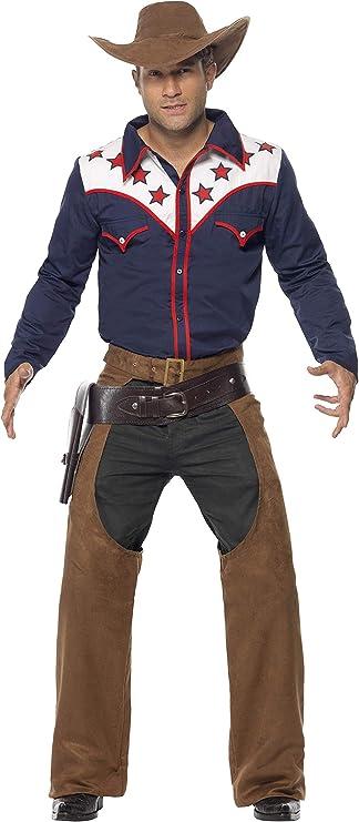 SmiffyS 22664L Disfraz Vaquero De Rodeo Con Camisa Chaparreras Y Sombrero, Azul, L - Tamaño 42
