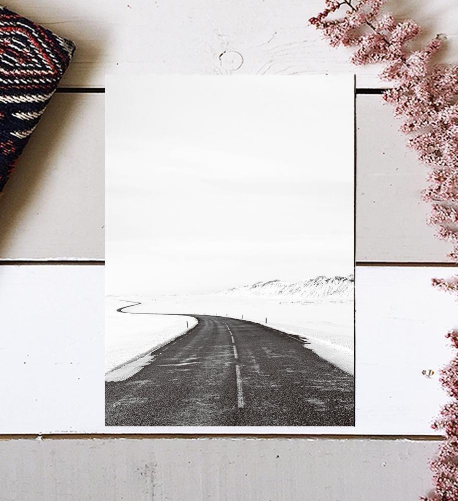 Black and White Photography, Winter Photography, Scandinavian Art, Minimalist Photography, Nordic Art, Nordic Print, Road Print, Minimalist Art, Winter Art Print, Modern Print, Black Wall Decor, 8x10
