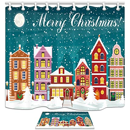 nymb christmas bathroom accessories sets fairy tale world cartoon city in snow 69x70in mildew - Christmas Bathroom Decor Amazon