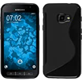 Funda de silicona para Samsung Galaxy Xcover 4 - S-Style negro - Cover PhoneNatic Cubierta + protector de pantalla