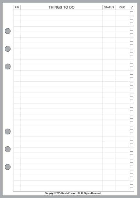 A5 Size to Do List Planner Pages, Sized and Punched for 6-Ring A5 Notebooks by Filofax, LV (GM), Kikki K, TMI, and Others. Sheet Size 5.83
