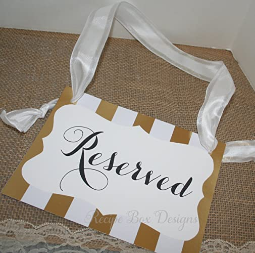 Reserved Wedding Signage Ceremony Seating Pew Or Chair Signs 8x10 Sign And Ribbon