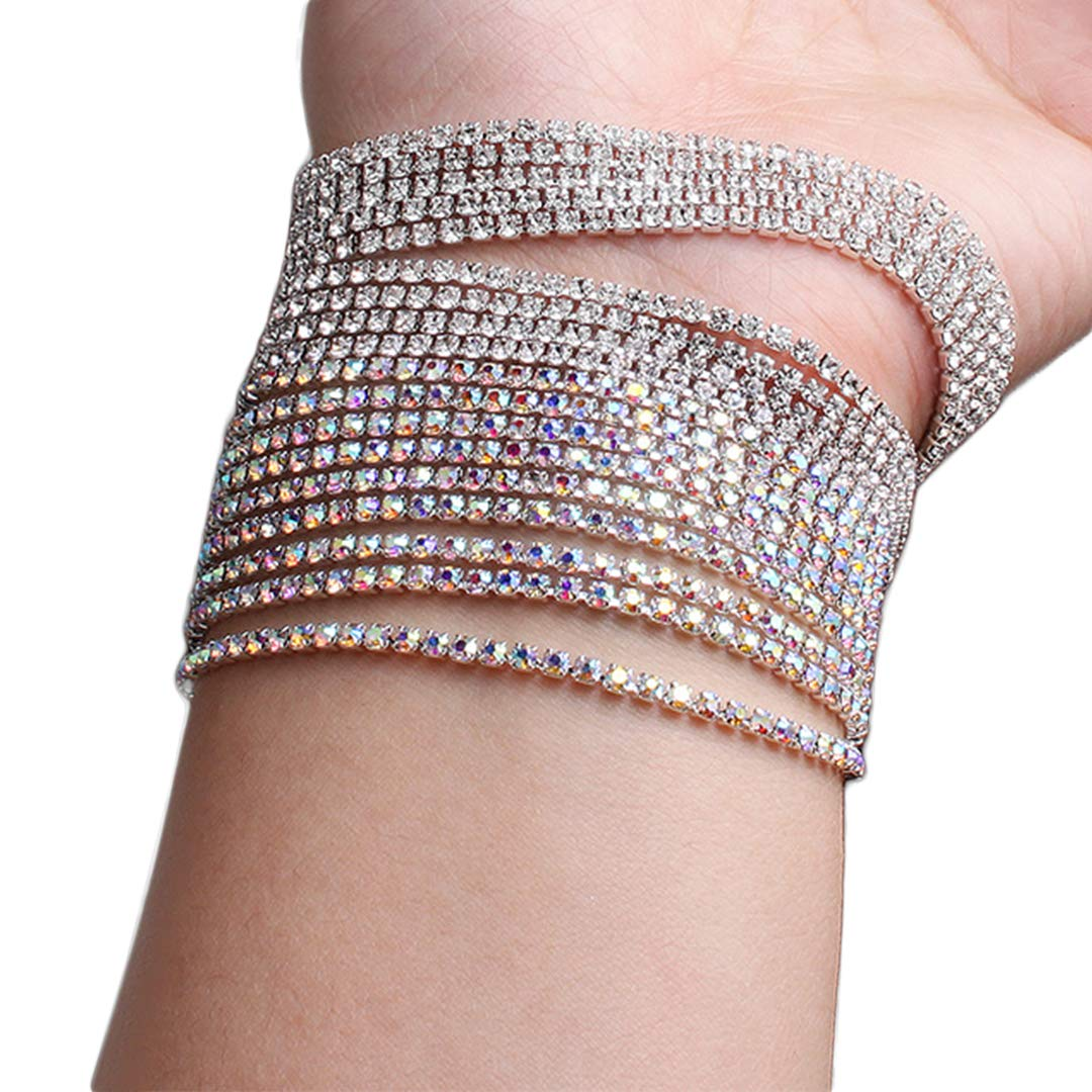Amazon.com  Gabrine Womens Silver Gold Rhinestone Crystal Bracelets  Multilayer Bangles for Wedding Bride Party Prom  Jewelry 3776c7643