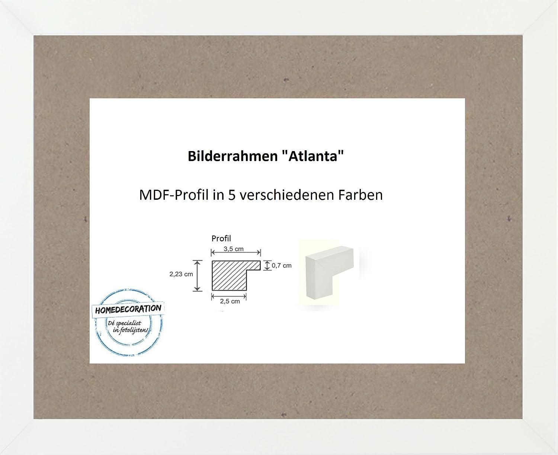 Atlanta MDF Bilderrahmen 101 x 153 cm Größen Auswahl 153 x 101 cm hier  Weiss Matt mit Acrylglas Antireflex 2 mm