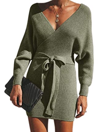9cc6faa4414 Klousilover Womens Winter Sexy V Neck Sweater Dress Knit Belted Long Sleeve  Bodycon Mini Dress Army