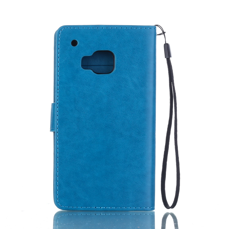 ikasus Compatible avec Coque HTC One M9 Etui,Motif Gaufrage Art Fleur Papillon Housse en Cuir PU Etui Housse en Cuir Portefeuille Protection supporter Flip Case Etui Housse Coque pour HTC One M9,Blanc