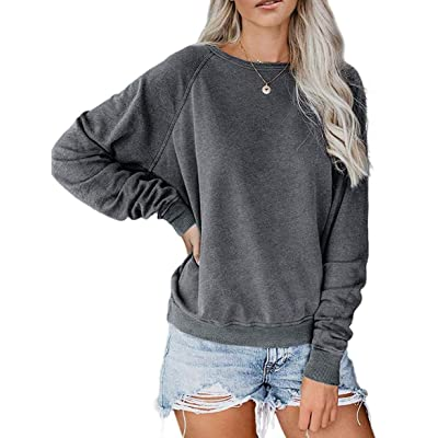 Bakoliza Womens Crewneck Long Sleeve Solid Color Loose Pullover Sweatshirt at Women's Clothing store