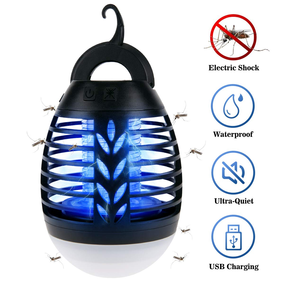 BACKTURE Camping Lamp, 2-in-1 Portable Mosquito Killer LED Bug Zapper IPX6 Waterproof Outdoor Camping Lantern USB Rechargeable 3 Lighting Modes Suitable for Home, Camping, Hiking, Fishing, Emergency