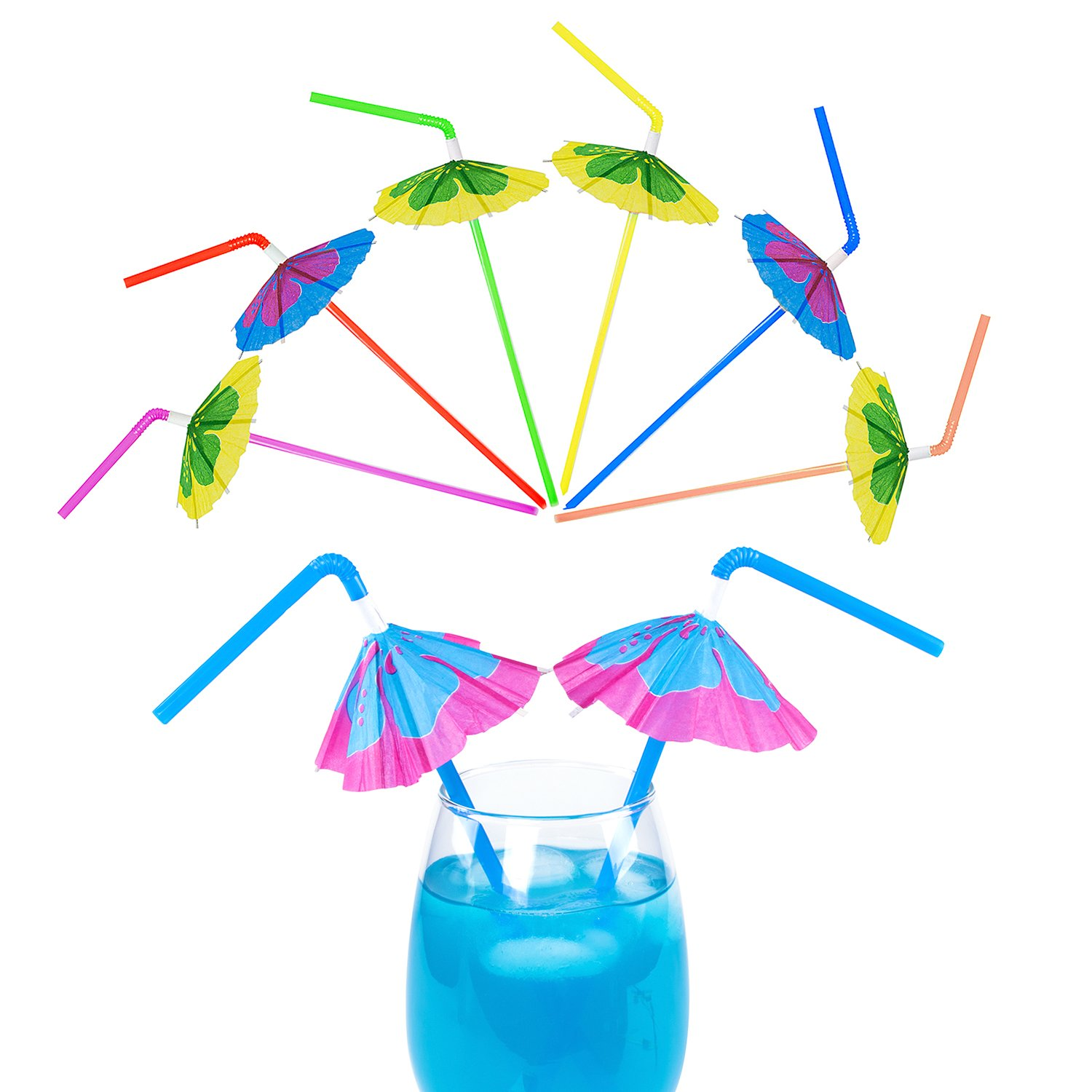 Multicolored Tropical Luau Parasol Hibiscus Print Umbrella Disposable Bendable Drinking Straws for Island Themed Party, Kitchen Supplies, Bars, Restaurants (48 Pack)