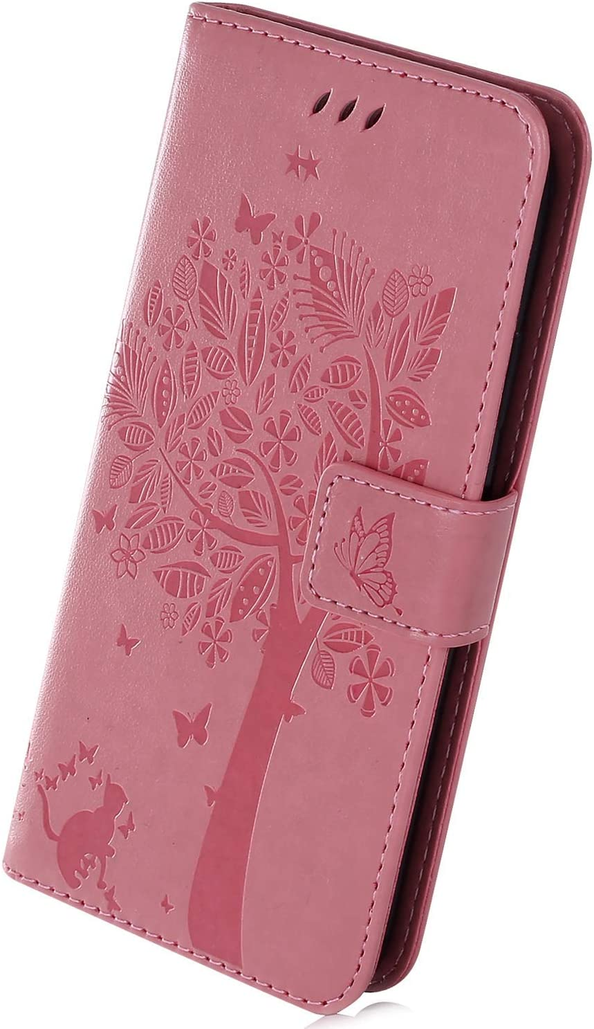 Herbests Compatible with Huawei Honor 8X Wallet Case 3D Embossed Flower Butterfly Tree Cat Flip Leather Case Kickstand Credit Card Wrist Strap Full Body Protective Phone Case,Coffee