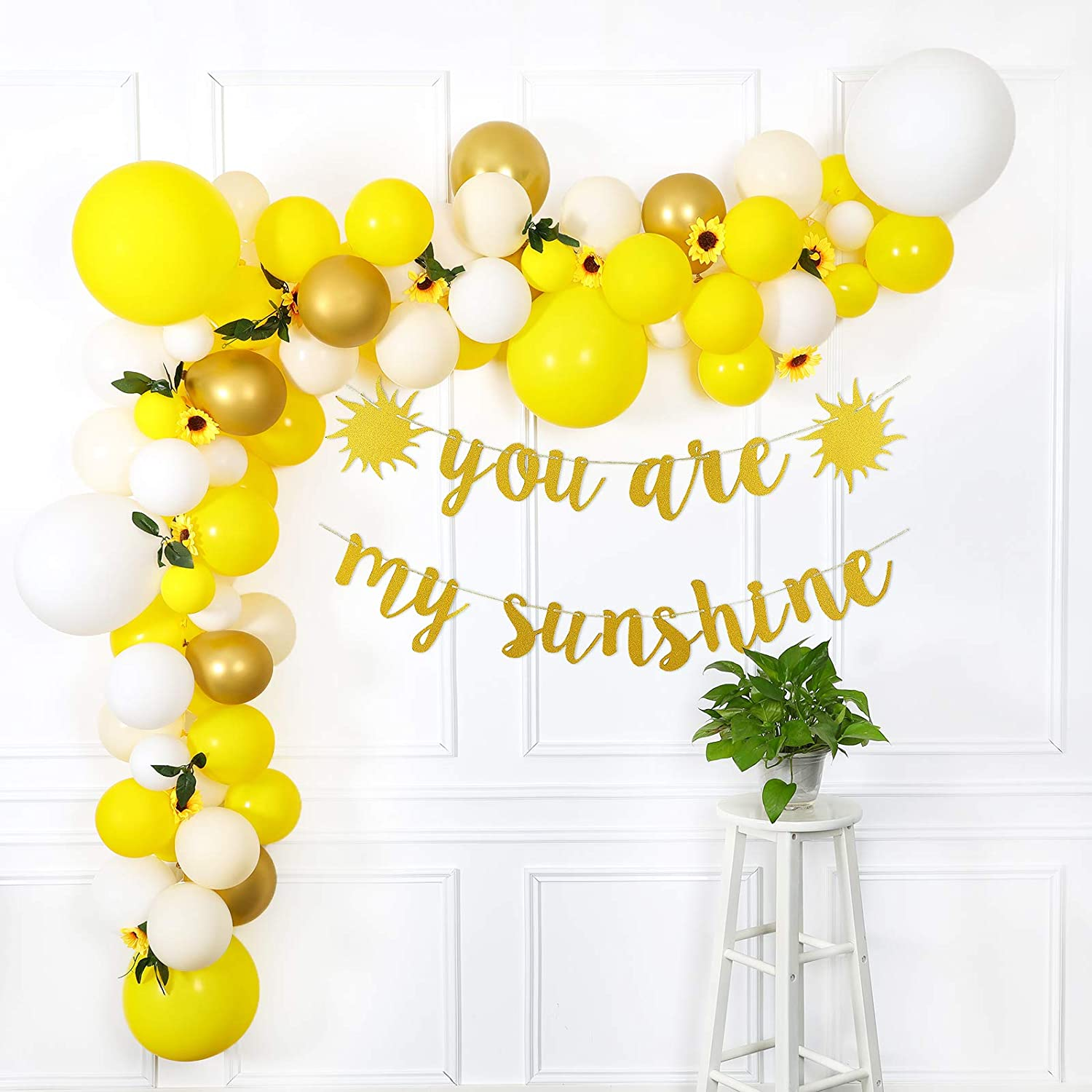 Sunflower Party Decorations, Sunflower Balloon Garland Arch Kit with Your Are My Sunshine Banner for Sunflower Theme Baby Shower Decorations, Birthday Party Decorations for Girl, Bridal Shower, Wedding