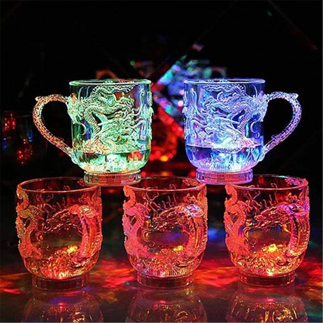 LED de qualit/é sup/érieure clignotant avec changement de couleur activ/é par leau /éclairant la tasse de tasse de bi/ère de dragon Li-ly