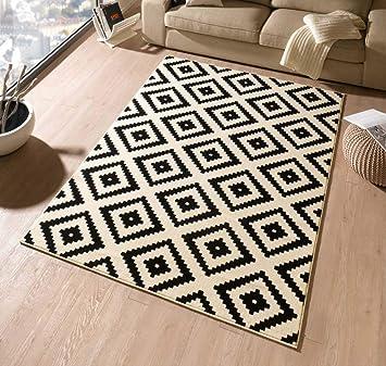 Hanse Home Designer Tapis En Velours Noircrème102332 Losange 120