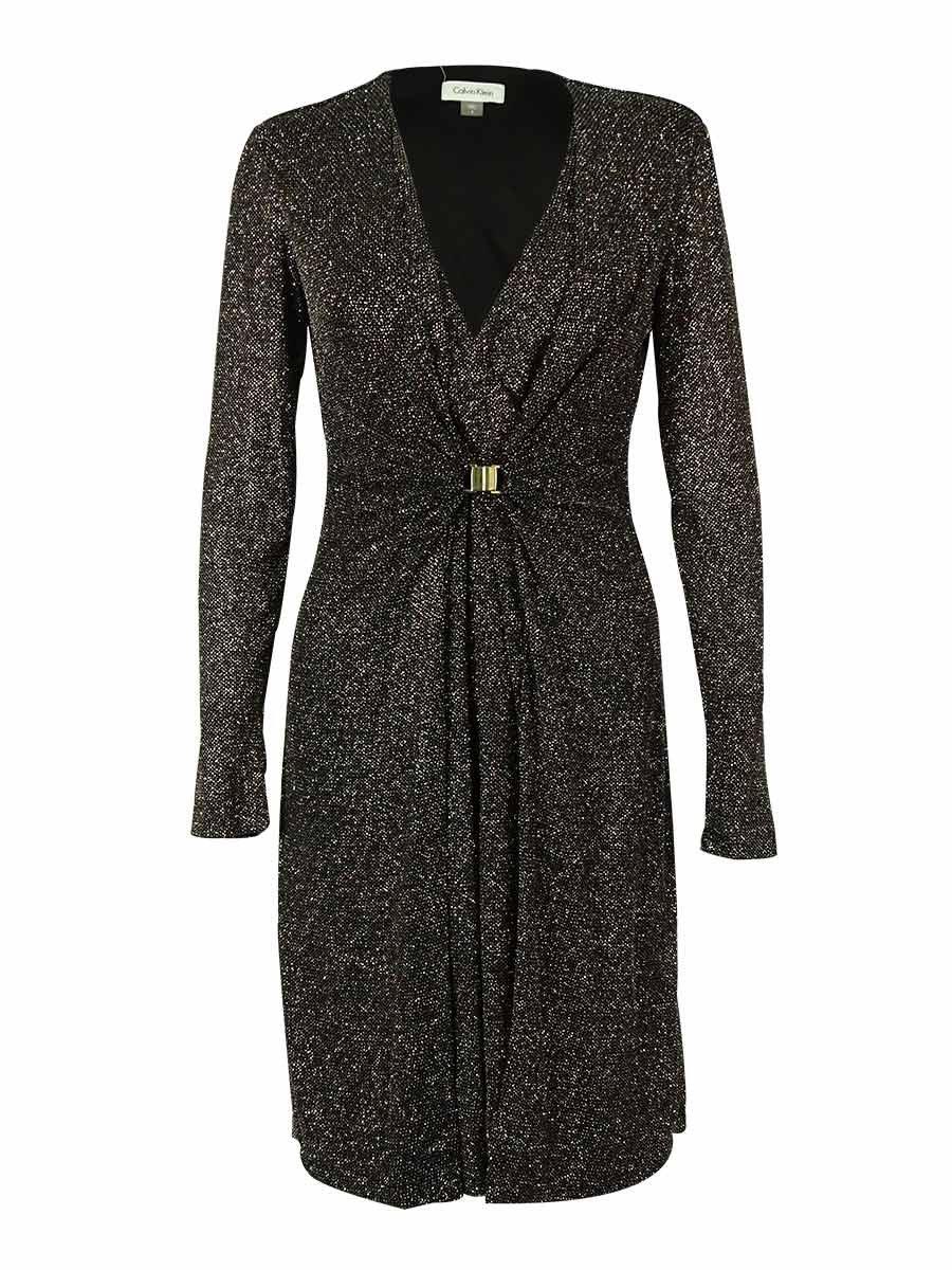 Calvin Klein Women's Metallic Glitter Dress (4, Black/Multi)