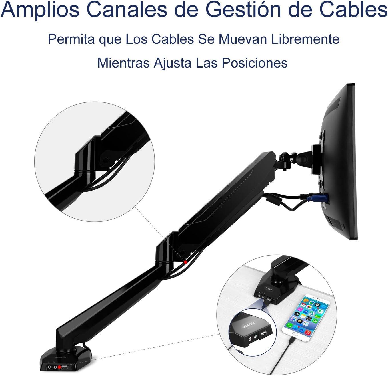 Noir BESTEK Support Ecran Moniteur PC Ordinateur Bras Articulé Hauteur Angle Réglable Flexible Ressort à Gaz Support 15-27 LCD//TFT//LED Supportable 8kg en Alliage dAluminium avec Port USB