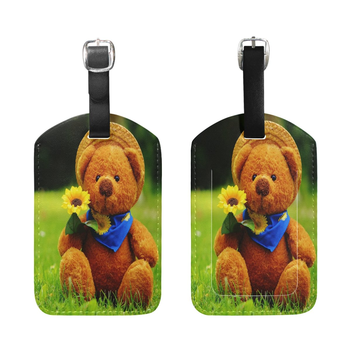 1Pcs Saobao Travel Luggage Tag Teddy Bears And Sunflowers PU Leather Baggage Suitcase Travel ID Bag Tag