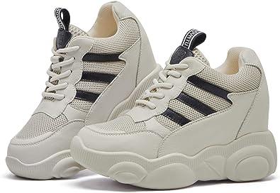 Leisure Ladies Lace Up Platform Sports Hidden Wedge Heels Platform Sneaker Shoes