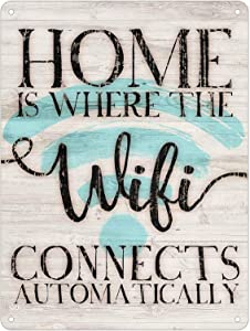 KENSILO Tin Sign Home is Where The WiFi Connects Automatically Retro Vintage Wall Decor Metal Signs 16 x 12 inches