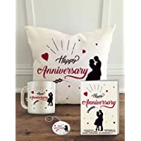"Aldivo Gift For Happy Anniversary Combo Pack (12"" X 12"" Cushion Cover With Filler With Printed Coffee Mug Greeting Card And Printed Key Ring"