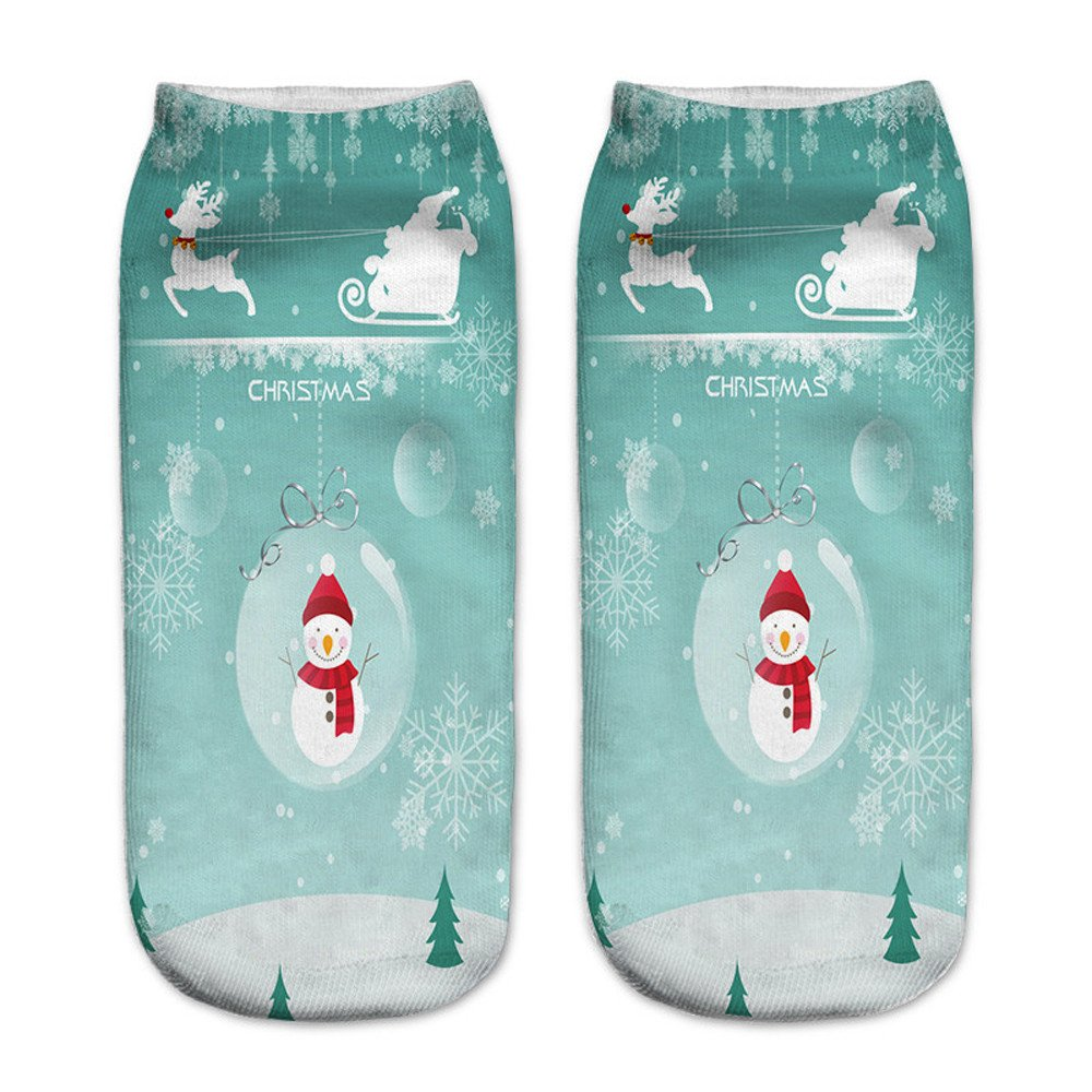 Charberry Clearance Unisex Santa Claus 3D Printed Christmas Casual Socks Low Cut Ankle Socks (A)