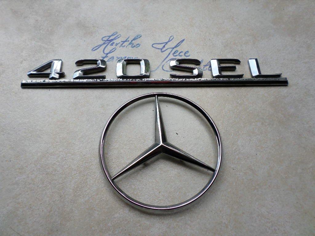 86-90 Mercedes Benz 420 Sel Rear Trunk Chrome Logo 126 758 0158 Emblem 126 817 2015 Badge Set of 2