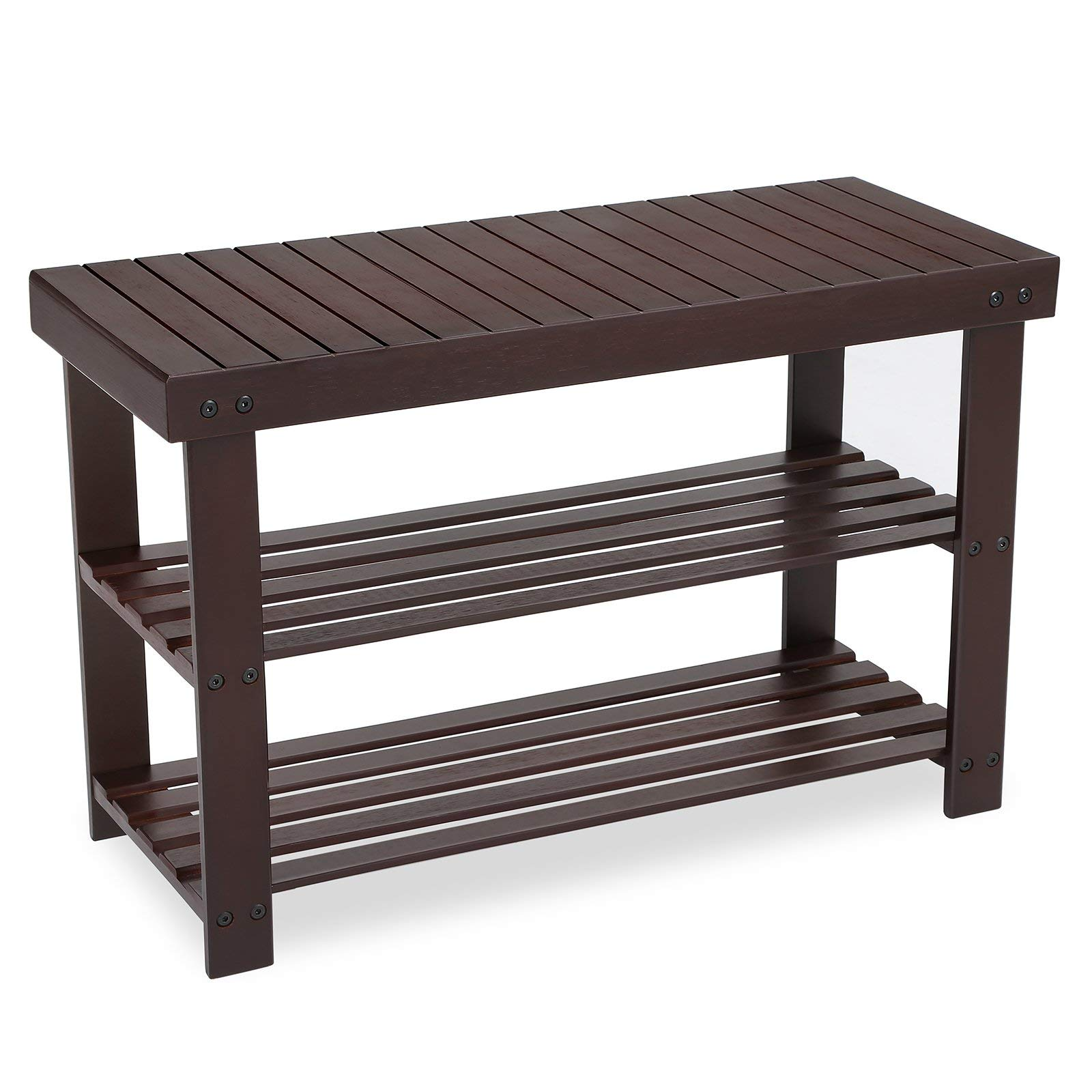 SONGMICS 3-Tier Bamboo Shoe Rack Bench, Shoe Organizer, Storage Shelf, Holds Up to 264 Lb, Ideal for Entryway Hallway Bathroom Living Room and Corridor Brown ULBS04Z by SONGMICS