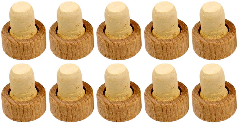 10 Stück Korken mit Holzgriff unterschiedliche Größen (16 mm) Erhard-Trading