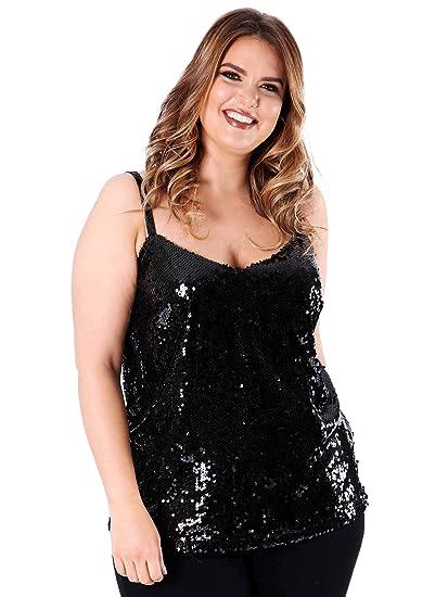 5eca6b789aba9 Lovedrobe Koko Women s Plus Size Black Sequin Cami Top  Amazon.co.uk ...