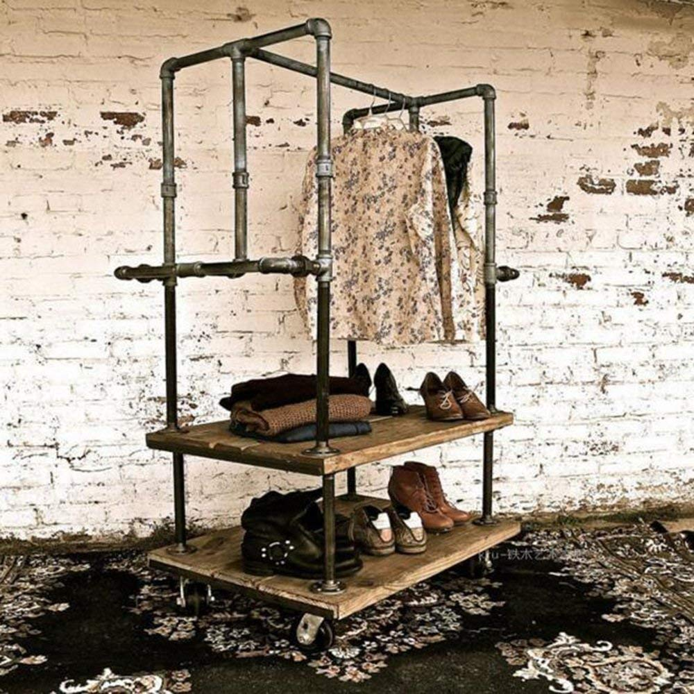 YUEQISONG Clothing Rack Industrial Iron Pipe Iron Solid Wood Clothing Store Display Stand