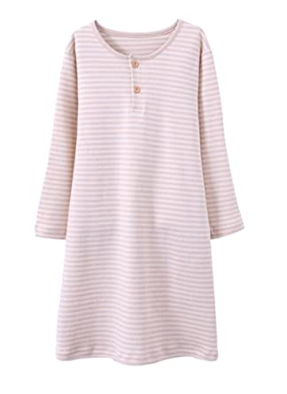 Amazon.com: EPLAZA Girls 100% Cotton Night Dressing Gowns Soft Long ...