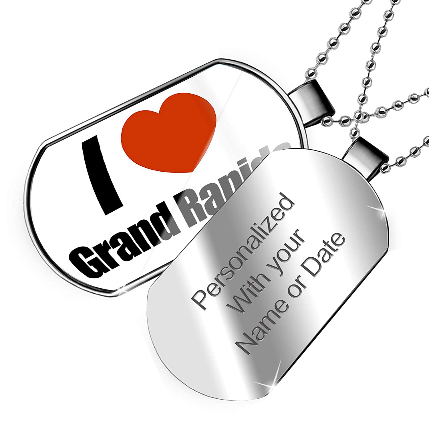 United States Dogtag Necklace Michigan NEONBLOND Personalized Name Engraved I Love Grand Rapids Region