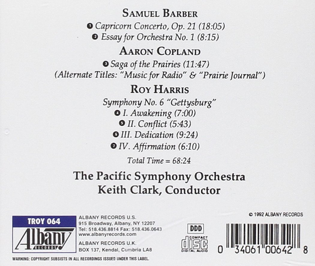 samuel barber aaron copland roy harris keith clark the pacific symphony orchestra barber capricorn concerto essay no 1 copland saga of the prairies harris symphony no 6 gettysburg com music