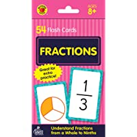 Carson Dellosa - Fractions Flash Cards - 54 Basic Math Cards for Learning Fractions 1/1 to 9/9 for 3rd, 4th and 5th Grade Arithmetic, Ages 8+