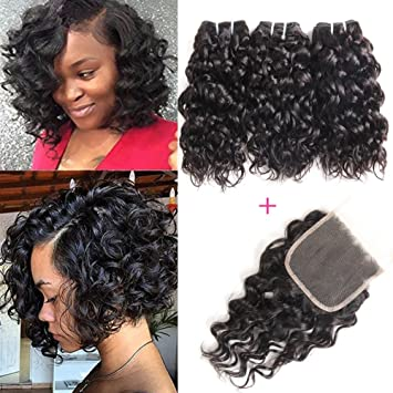 Yami 8a Brazilian Human Hair Bundles Water Wave Curly Weave Short Hairstyles 100 Unprocessed Virgin Hair Extensions With Lace Closure 50g One