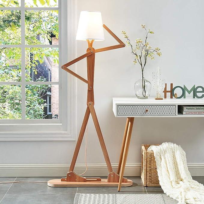hroome decorativa de madera lámpara de pie luz moderno y contemporáneo con pliegue blanco pantalla de tela ajustable altura lámpara de pie para salón, dormitorio, oficina 160 cm diseño único DIY Hombre