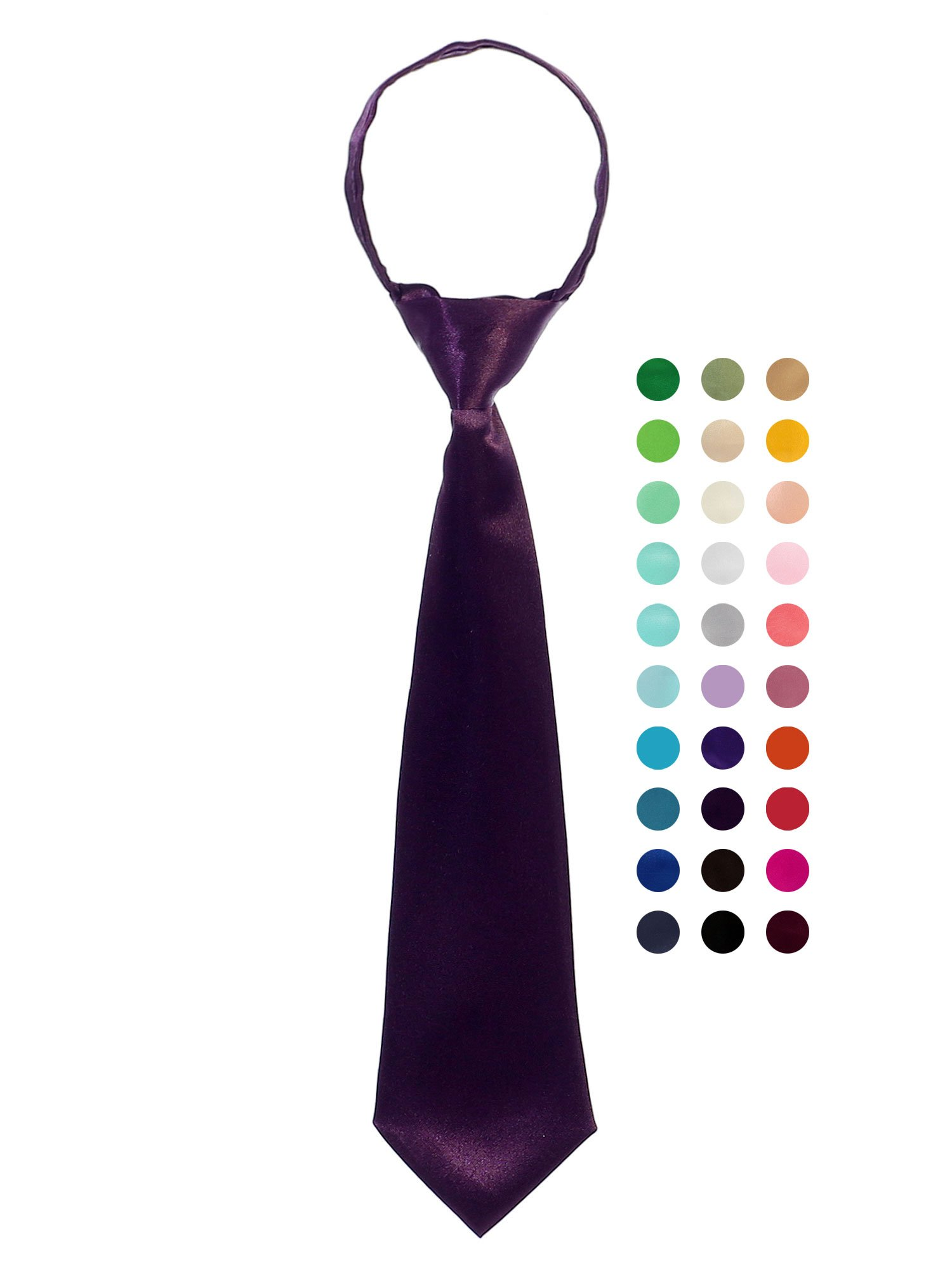 Bello Giovane Boys 100% Handmade Satin Zipper Neck Tie-Plum-L