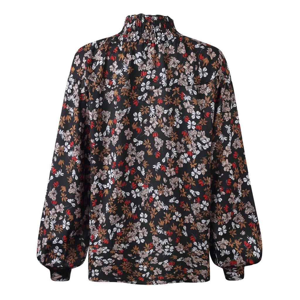 GOKOMO Frauen-beil/äufige Drucken-hoher Ansatz-Blusen-Lange H/ülsen-lose Oberseiten-Hemd Frauen Print High Neck Button Langarm Shirt Top Schwarze Blume