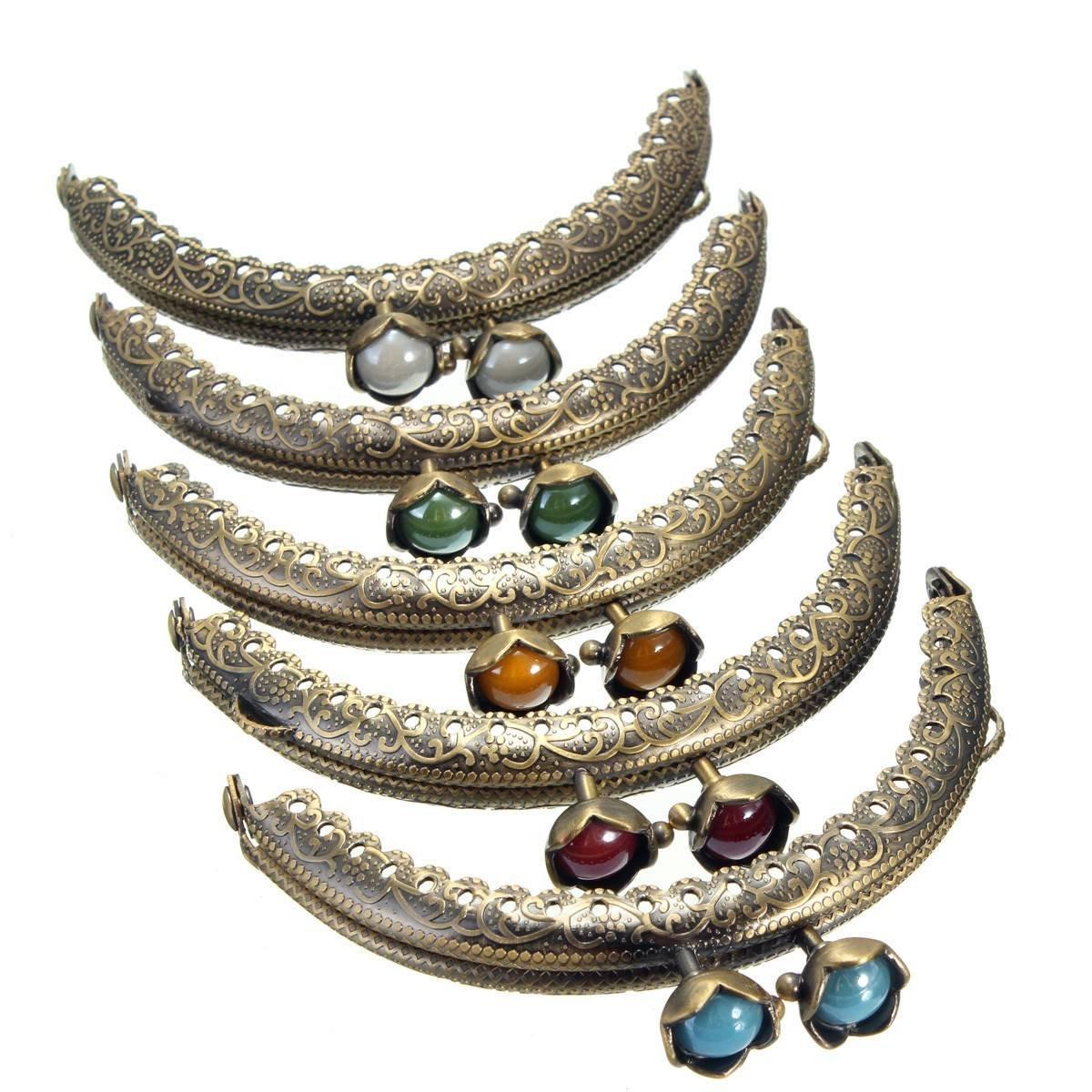 KING DO WAY Set di 5 Pezzi Chiusure di Borsa/Portafogli, Chiusura Antica con Diamante Decorativo Clic Clac per DIY 8.5cm x 5cm