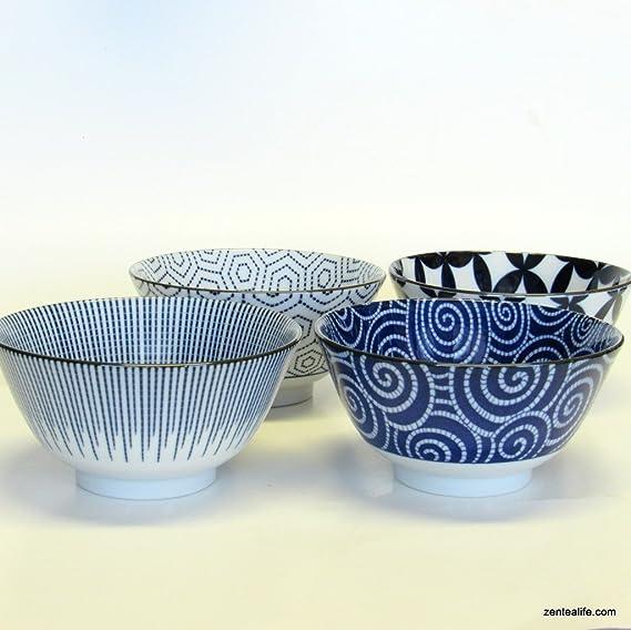 Japonais Seto Ware Riz Soupe Bol nouilles Donburi plaquette Kozara Set Bleu