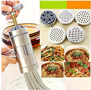 Manual Noodle Maker, Stainless Steel Noodle Press Dough Press Machine Hand Crank Spaghetti Pasta Maker Vegetable Fruit Juicer Squeezer with 5 Molds