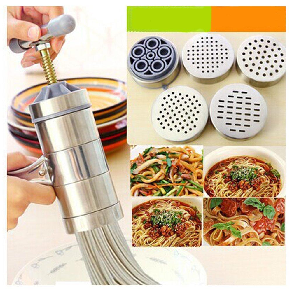 Mini Manual Noodle Maker Stainless Steel Pasta Machine with 5 Module Portable Dough Pasta Noodle Press Machine Multifunction DIY Fruit Juicer Spaghetti Making Machine(7.285.51inch)