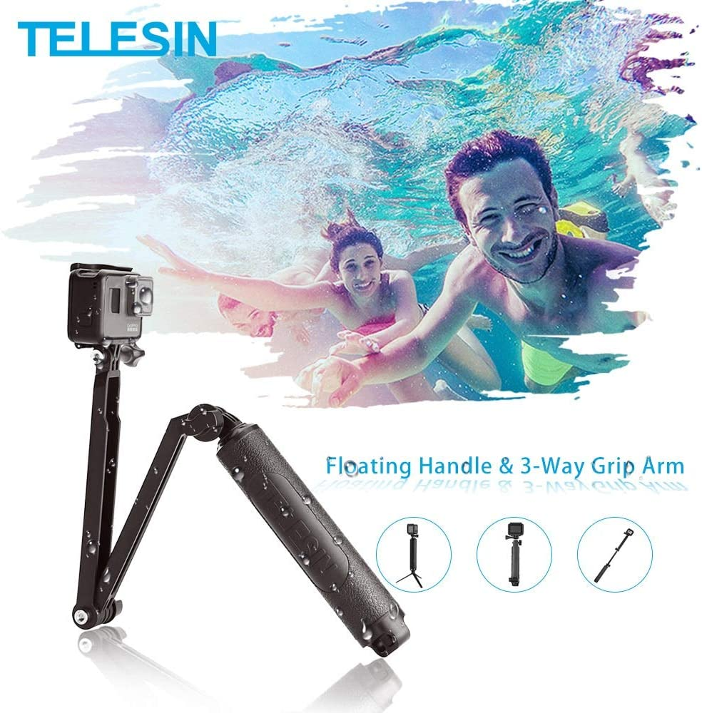 3-Way Grip Arm Monopod Pole Tripod for GoPro Xiao YI SJCAM DJI Osmo Action Waterproof Selfie Stick Floating Hand Grip
