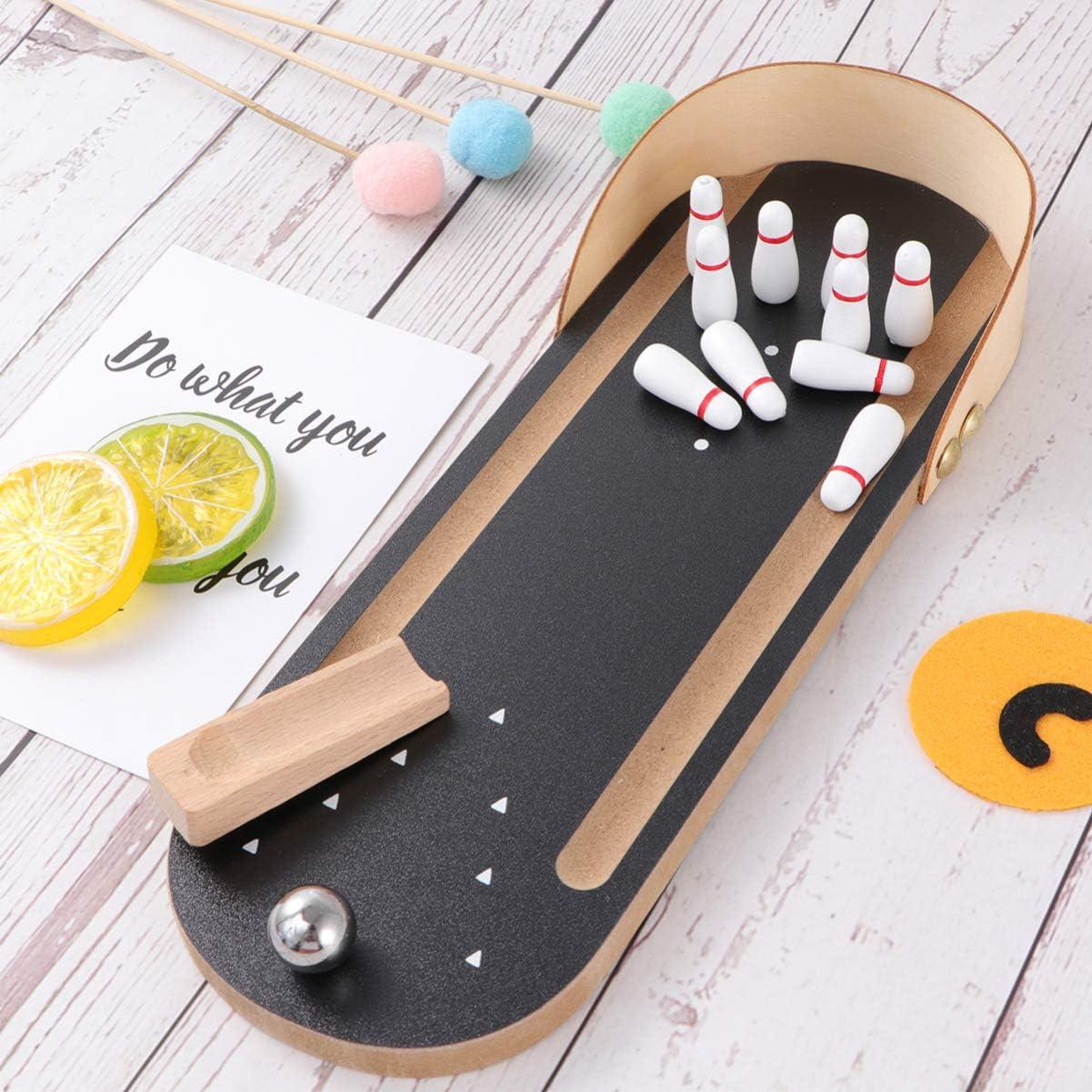 LIOOBO Mini Juego de Bolos de Mesa de Madera Juego de Bolos para niños: Amazon.es: Deportes y aire libre