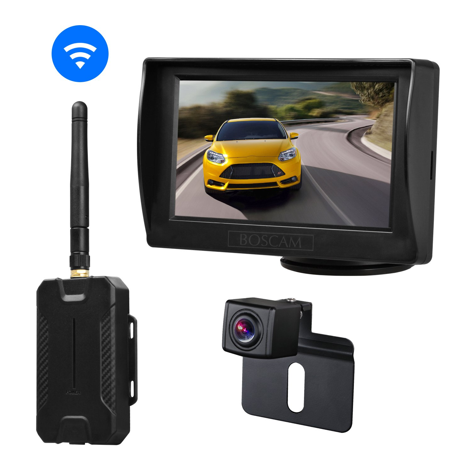 BOSCAM K1 Wireless Backup Camera and Monitor Kit, 4.3 Inches LCD Rear View Monitor + Waterproof Back up Car Camera with Super Night Vision for Cars,Vans,Trucks,RVs