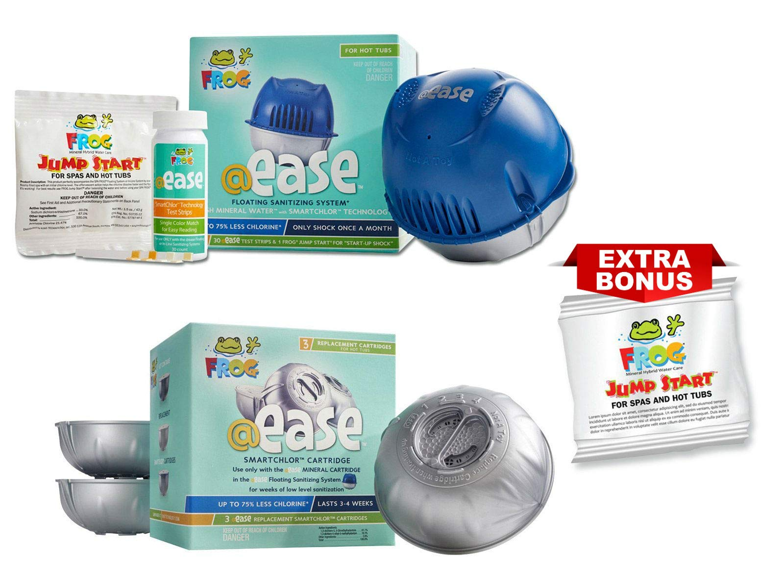 Frog Spa Ease Floating Sanitizing System and 3 Refill SmartChlor @ Ease Replacement Mineral Cartridges, 30 Test Strips, Jump Start Shock Plus One Extra Bonus Jump Start Shock Pack (2) by Frog