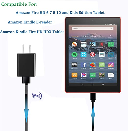 Amazon Com Kindle Fire Charger Ul Listed Compatible For Amazon Kindle Fire 7 Hd 6 7 8 10 Tablet And Fire 8 Plus Kids Edition Kindle Fire Hd Hdx 7 8 9 With 5ft Charging Cable Cord Electronics
